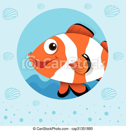 Clownfish with happy face - csp31351880