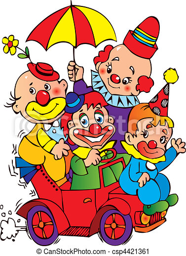 clowns clowns in the car on a white background vector vector rh canstockphoto com clown clip art with balloons clown clip art black white free