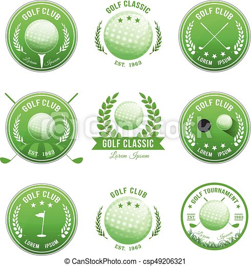 club, bannières, ensemble, golf, insignes - csp49206321