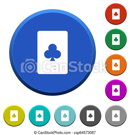 Club card symbol beveled buttons - csp64573087