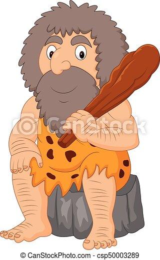 club, caveman, cartone animato, presa a terra - csp50003289