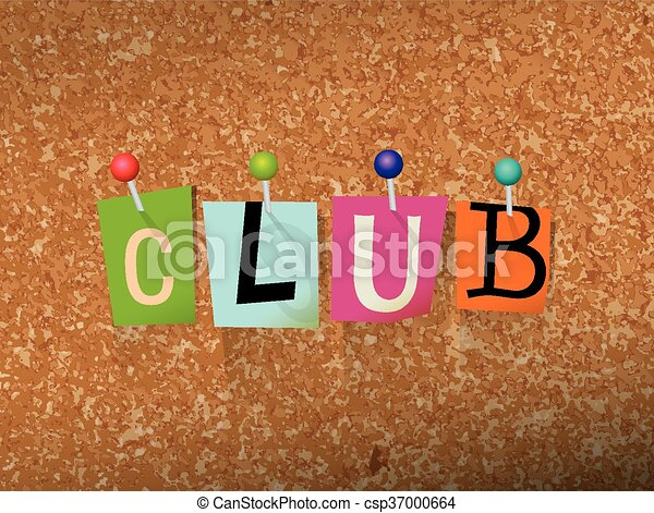Club Concept Pinned Letters Illustration - csp37000664