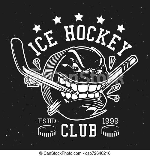 Un disco de hockey con dientes y palo, signo del club - csp72646216