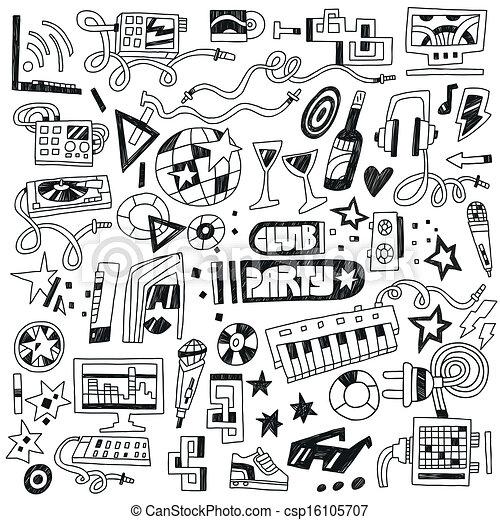 club, fête, -, doodles, musique - csp16105707