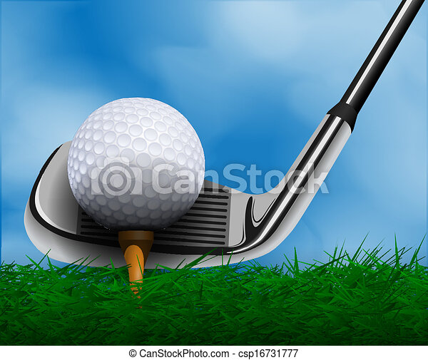 Golf ball y club frente a la hierba - csp16731777