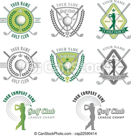 club, logo, vert, golf, conceptions - csp22590414