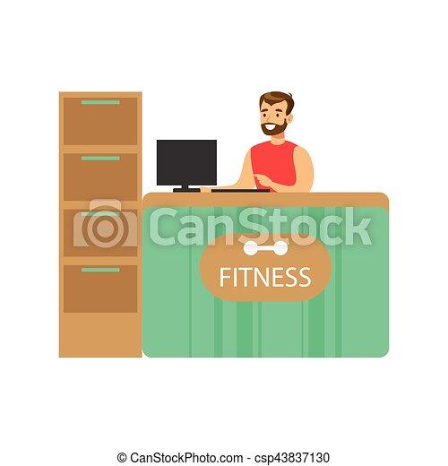El mostrador de recepción del club de fitness con recepcionista y ordenador masculinos - csp43837130