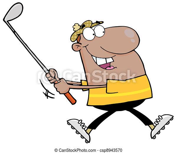 Hombre negro balanceando un palo de golf - csp8943570