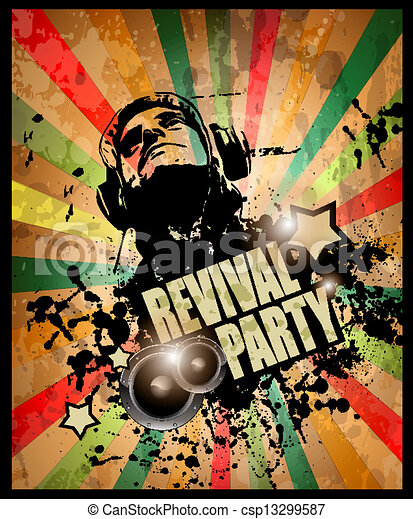 Club party flyer for music event and promotional posters. Retro vintage style with a lot of grunge elements. - csp13299587