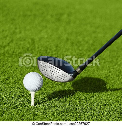 Club de golf y pelota en la hierba - csp20367927