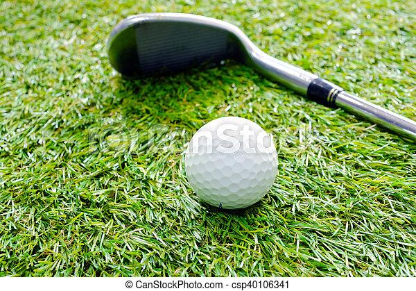 Club de golf con pelota de golf en la hierba - csp40106341