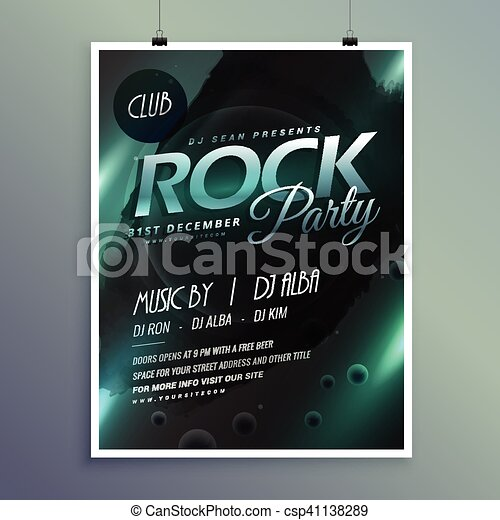 Club rock party music flyer template.