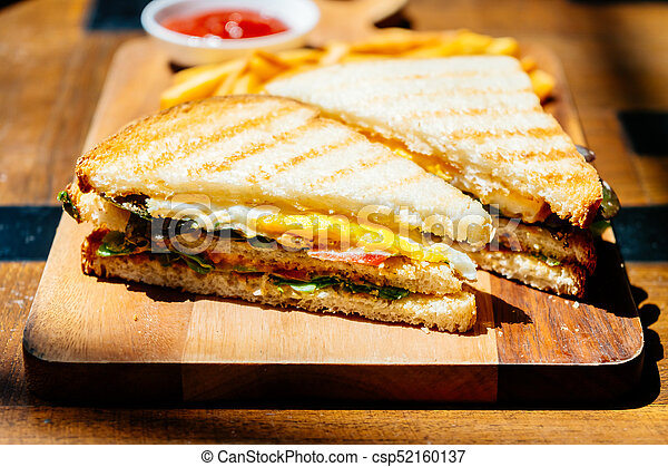 Club sandwich with french fries - csp52160137