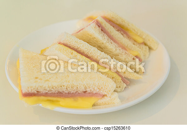 club sandwiches with ham and cheese - csp15263610
