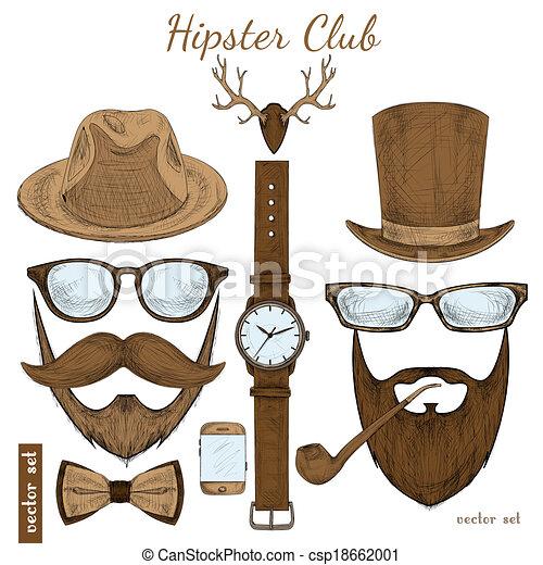 club, vendange, hipster, accessoires - csp18662001