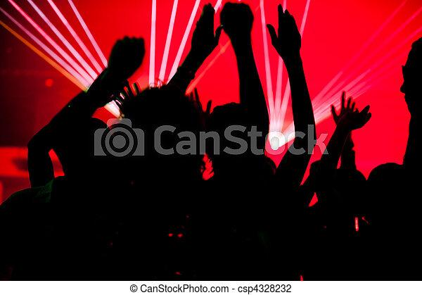 clube, pessoas, laser, dançar - csp4328232