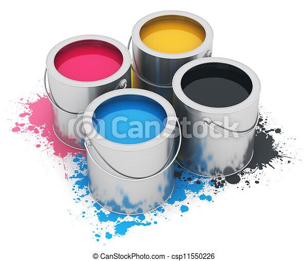 cmyk, ペンキの 缶 - csp11550226