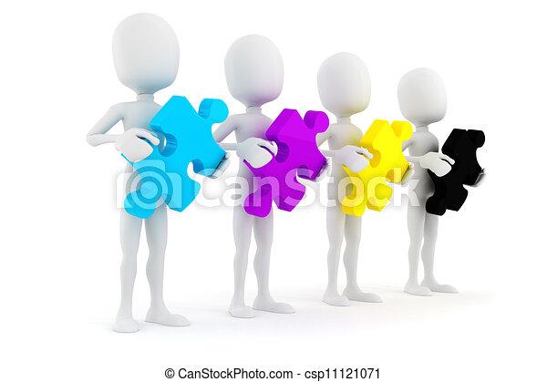 cmyk, 保有物, カラフルである, パズル小片, 背景, 白, 人, 3d - csp11121071