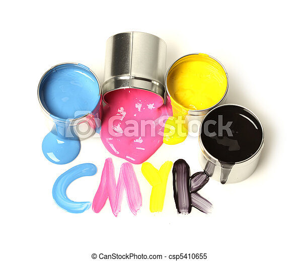 CMYK cans of paint - csp5410655