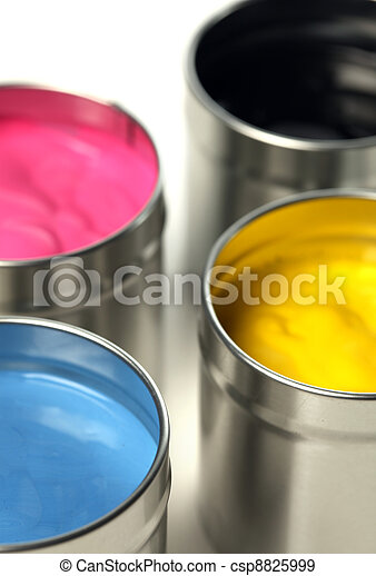 CMYK cans of paint - csp8825999