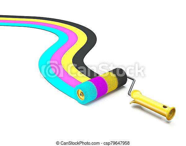 CMYK color paint roller brush 3D - csp79647958
