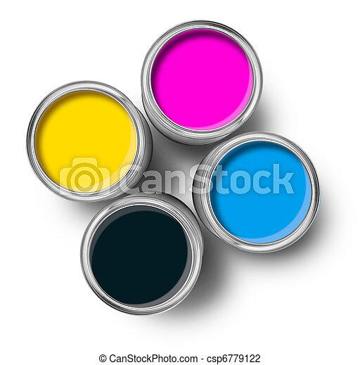 Cmyk color paint tin cans top - csp6779122
