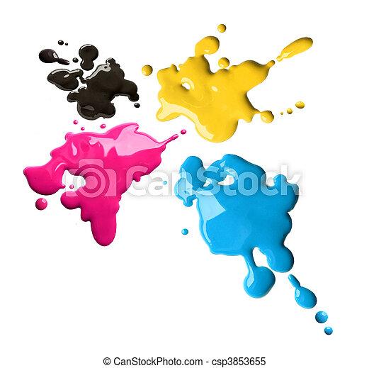 Cmyk color splashes - csp3853655