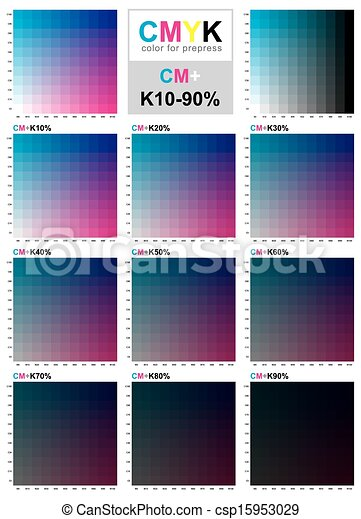 Cmyk Color Swatch Chart  Cyan And Magenta The Cmyk Color  Vector