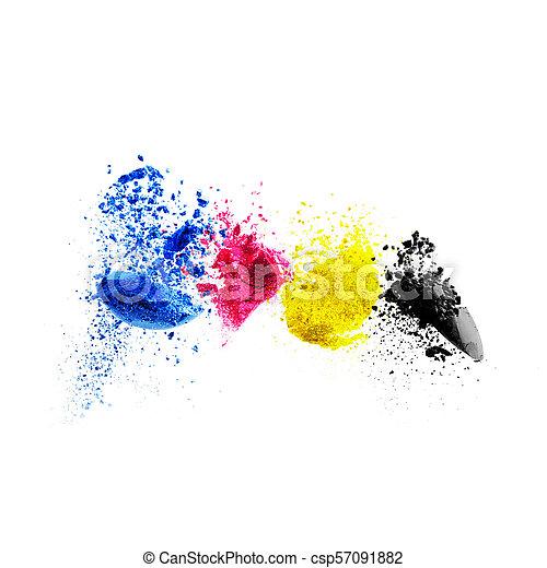 CMYK colour toner for printer cyan magenta yellow black - csp57091882