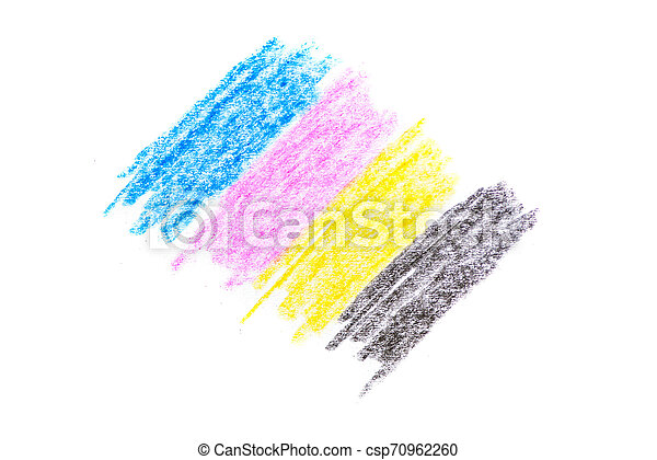 cmyk concept - crayon texture with cyan blue red magenta yellow and black drawings on white paper background - csp70962260