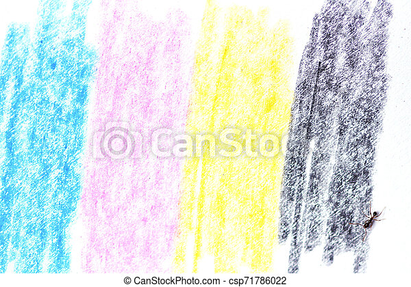 cmyk concept / crayon texture with cyan blue red magenta yellow and black drawings on white paper and black ant - csp71786022