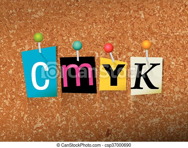 CMYK Concept Pinned Letters Illustration - csp37000690