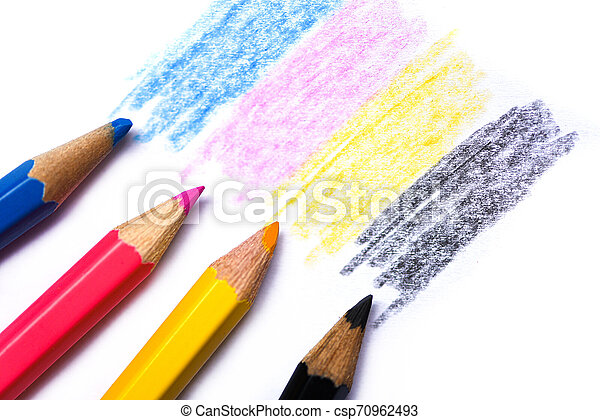 cmyk concept - wooden crayon texture with cyan blue red magenta yellow and black drawings on white paper background - csp70962493