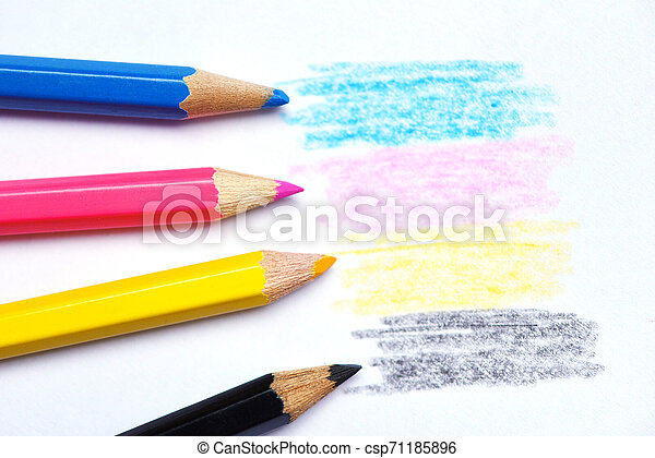 cmyk concept - wooden crayon texture with cyan blue red magenta yellow and black drawings on white paper background - csp71185896