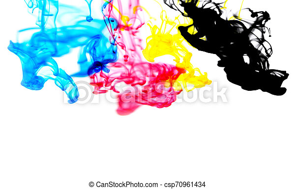 cmyk ink concept color splash for paint with cyan blue red magenta yellow and black - Rainbow ink drop Acrylic colors in water on white background , blur and selective focus - csp70961434
