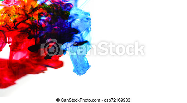 cmyk ink concept color splash for paint / Rainbow ink drop Acrylic colors in water on white background - csp72169933