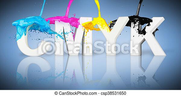 CMYK paint splash letters - csp38531650