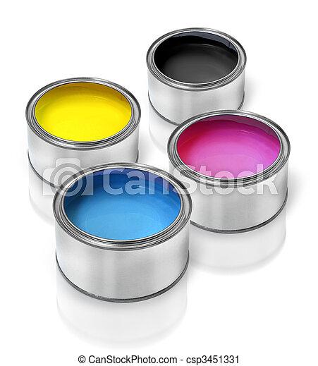 Cmyk paint tin cans - csp3451331