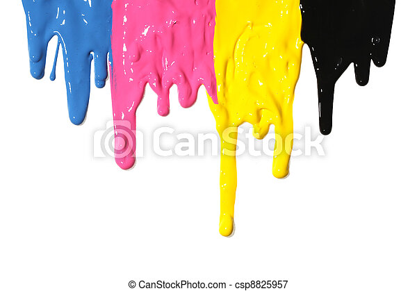 cmyk, pintura, gotejando - csp8825957