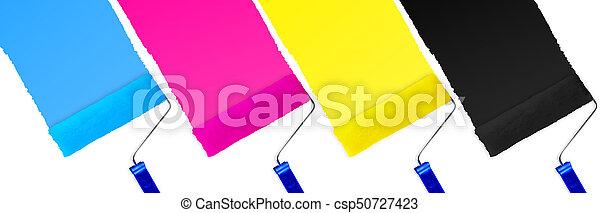 CMYK print symbol set of paint roller - csp50727423