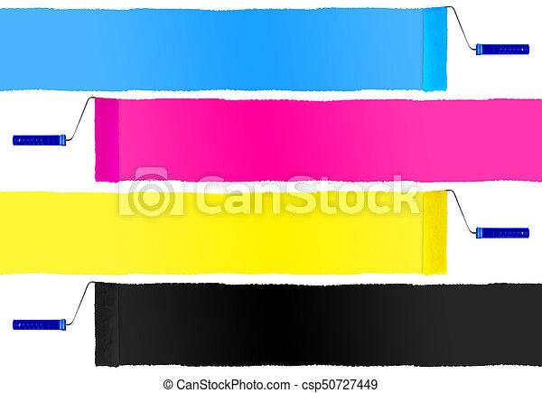 CMYK print symbol set of paint roller - csp50727449