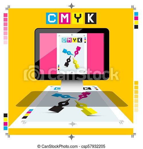 CMYK Printing Document on PC Computer with Marks - Vector DTP Symbol - csp57932205