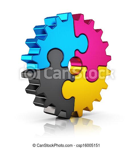 cmyk, quebra-cabeça, engrenagem - csp16005151