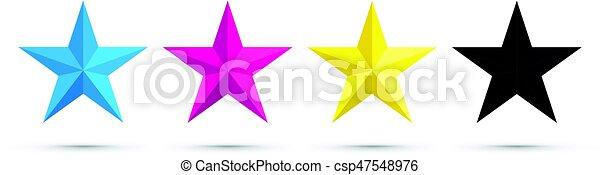 cmyk, stella, icone - csp47548976