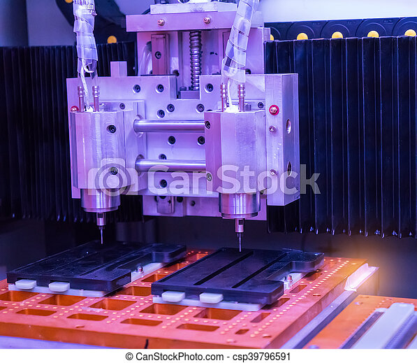CNC milling machine milling heads in metal industry - csp39796591