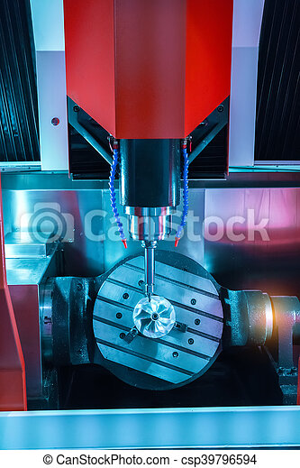 CNC milling machine milling heads in metal industry - csp39796594