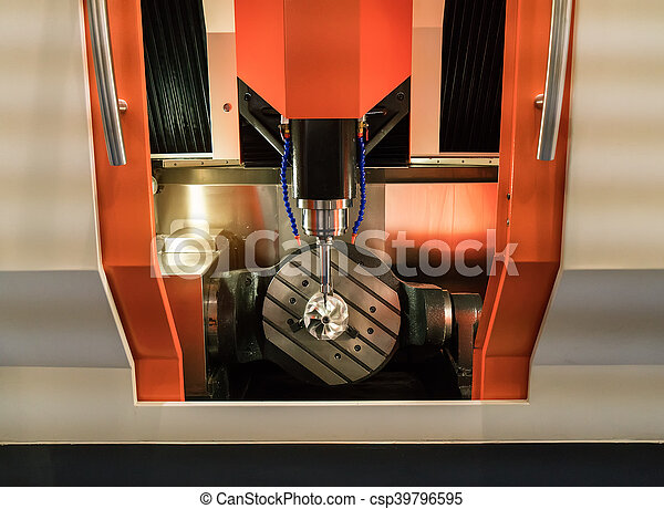 CNC milling machine milling heads in metal industry - csp39796595