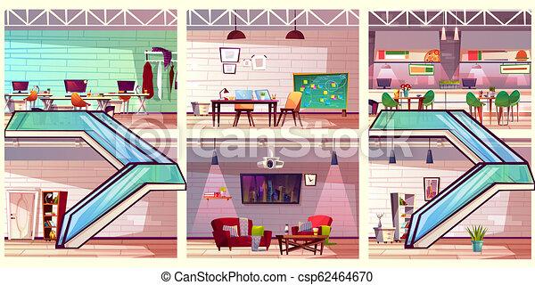 co, 労働者のオフィス, 内部, 現代, ベクトル, 漫画 - csp62464670