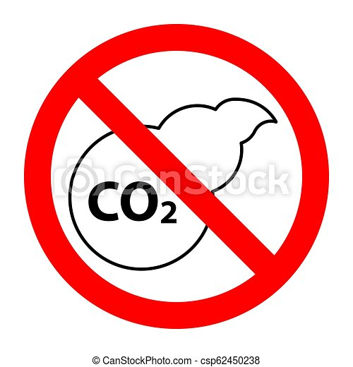 CO2 air pollution stop forbidden prohibition sign - csp62450238