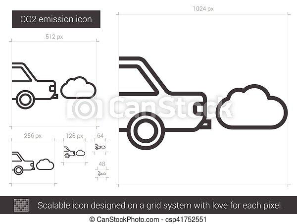 CO2 emission line icon. - csp41752551